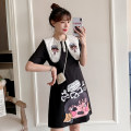 cheongsam Summer 2021 M L XL 2XL 3XL 4XL Black Guochao cheongsam dress Short sleeve Short cheongsam court No slits daily Ruyi lapel Cartoon animation 18-25 years old Piping XHA-2F023-821 Hin coast other Other 100% Pure e-commerce (online only) 31% (inclusive) - 50% (inclusive)