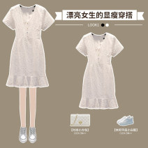 Dress Summer 2021 White fishtail dress M L XL 2XL 3XL 4XL longuette singleton  Short sleeve commute V-neck High waist Solid color Socket A-line skirt routine 25-29 years old Hin coast Ol style Lace XHA - 3F071 - three hundred and six More than 95% Lace other Other 100% Pure e-commerce (online only)