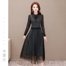 Dress Spring 2021 Brown Black M L XL 2XL 3XL longuette Fake two pieces Long sleeves commute Crew neck High waist Solid color Socket A-line skirt other Others 40-49 years old Type A Zhuoluan Korean version Patchwork lace ZLA2610 81% (inclusive) - 90% (inclusive) other polyester fiber