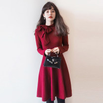 Dress Winter 2020 [quality] red [quality] black S M L XL Mid length dress singleton  Long sleeves commute High waist Solid color Socket A-line skirt routine Others 25-29 years old Type A SHAYY GIRL Korean version bow /SArZ More than 95% knitting other Other 100% Exclusive payment of tmall