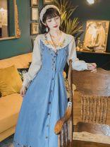 Dress Other Apricot shirt, blue denim skirt, shirt + denim skirt XS,S,M,L,XL Long sleeves Solid color cotton xhm852213