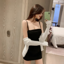 Women's large Autumn 2020 One piece suspender skirt one piece Jacket Suit (skirt + cardigan) S M L XL XXL Dress singleton  commute easy moderate Cardigan Long sleeves Solid color Korean version One word collar Medium length other routine Detto 25-29 years old backless Short skirt Other 100% other