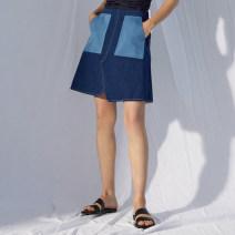 skirt Summer 2020 S,M,L blue Short skirt commute Natural waist Denim skirt Solid color Type A MADE OF SENSES Denim cotton Simplicity