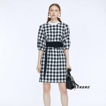 Dress Summer 2020 black and white 155/80A,160/84A,165/88A,170/92A,175/96A Middle-skirt singleton  elbow sleeve commute Crew neck High waist lattice zipper other bishop sleeve Others 30-34 years old Type X Ol style 9C50205536 51% (inclusive) - 70% (inclusive) polyester fiber