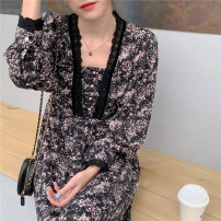 Dress Spring 2021 Picture color S M L longuette singleton  Long sleeves commute square neck High waist Broken flowers A-line skirt routine 18-24 years old Love the world Korean version More than 95% Chiffon other Other 100%