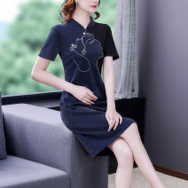 Women's large Summer 2021 blue Big XL big XXL big XXXL big L Dress singleton  commute Self cultivation moderate Socket Short sleeve Korean version stand collar Three dimensional cutting Mu Yixin 40-49 years old Medium length Other 100% Three buttons