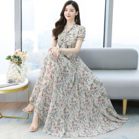 Dress Summer 2021 Apricot black flowers red flowers white flowers S M L XL 2XL 3XL 4XL longuette singleton  Short sleeve commute V-neck middle-waisted Decor zipper Big swing routine Others 30-34 years old Type A Mu Yixin Korean version printing NEJ1981 More than 95% Chiffon other Other 100%