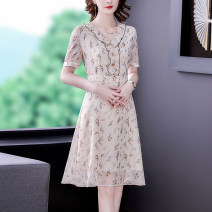 Dress Summer 2021 Middle-skirt singleton  Short sleeve commute V-neck middle-waisted Decor zipper A-line skirt routine Others 35-39 years old Type A Mu Yixin Korean version fold NRJ6662 More than 95% Chiffon other Other 100% Pure e-commerce (online sales only) S M L XL 2XL Apricot