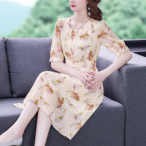Dress Summer 2021 Decor S M L XL 2XL Mid length dress singleton  elbow sleeve commute Crew neck middle-waisted Decor Socket A-line skirt puff sleeve 35-39 years old Type A Mu Yixin Ol style XBH8251 More than 95% other Other 100% Pure e-commerce (online only)