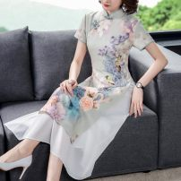 Dress Summer 2021 white M L XL 2XL 3XL Mid length dress singleton  Short sleeve Lotus leaf collar middle-waisted Single row two buttons other other 30-34 years old Mu Yixin NEJ1812 More than 95% other other Other 100% Pure e-commerce (online only)