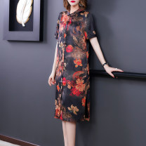 Dress 51% (inclusive) - 70% (inclusive) silk Silk and satin Mulberry silk 60% others 40% Pure e-commerce (online sales only) Summer 2021 Medium length skirt singleton  commute Short sleeve stand collar Design and color Single breasted routine 40-49 years old Loose waist Pencil skirt NRJ6032 Retro