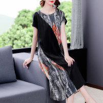 Dress Summer 2021 black L XL 2XL 3XL 4XL Mid length dress singleton  Short sleeve commute Crew neck Loose waist A-line skirt routine 40-49 years old Mu Yixin Ol style NEJ5139# More than 95% other Other 100% Pure e-commerce (online only)