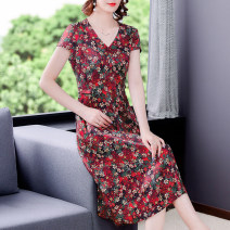 Dress Summer 2021 gules L XL 2XL 3XL 4XL Mid length dress singleton  Short sleeve commute V-neck middle-waisted Decor zipper A-line skirt routine 40-49 years old Mu Yixin Korean version NEJ5153 More than 95% other Other 100% Pure e-commerce (online only)