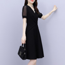 Women's large Summer 2021 black Large XL Large L Dress singleton  commute Self cultivation moderate Socket Short sleeve Solid color Korean version V-neck Medium length Polyester nylon Collage routine XBH7928 Mu Yixin 35-39 years old belt 81% (inclusive) - 90% (inclusive) Middle-skirt Other 100%