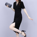 Women's large Summer 2021 black Large XL Large L Dress singleton  commute Self cultivation moderate Socket Short sleeve Solid color Korean version V-neck Medium length Polyester nylon Collage routine Mu Yixin 35-39 years old Lace stitching 81% (inclusive) - 90% (inclusive) Medium length Other 100%