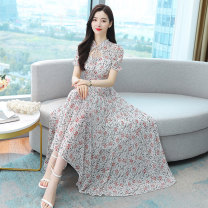 Dress Summer 2021 Grey Navy white yellow green M L XL 2XL 3XL longuette singleton  Short sleeve commute stand collar middle-waisted Broken flowers Big swing Lotus leaf sleeve Others 30-34 years old Type A Mu Yixin lady printing NRJ7130 More than 95% Chiffon other Other 100%