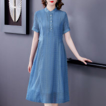 Middle aged and old women's wear Summer 2021 Denim XL XXL XXXL XXXXL fashion Dress easy singleton  Solid color 40-49 years old Socket thin V-neck Medium length routine NRJ5468 Mu Yixin Button other Other 100% 96% and above Pure e-commerce (online only) A button longuette Chiffon Ruffle Skirt