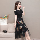 Dress Summer 2021 Picture color L XL 2XL 3XL 4XL 5XL longuette singleton  Short sleeve commute Crew neck Decor Big swing 35-39 years old Type A Mu Yixin Korean version Splicing XBH8025 More than 95% other Other 100% Pure e-commerce (online only)