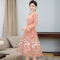 Dress Summer 2021 Pink M L XL 2XL 3XL Mid length dress singleton  Long sleeves Crew neck Loose waist Decor Socket A-line skirt routine 40-49 years old Mu Yixin NEJ7003 More than 95% other other Other 100% Pure e-commerce (online only)