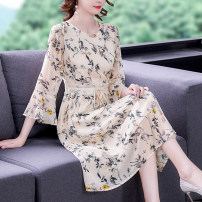 Dress Summer 2021 Decor S M L XL 2XL Mid length dress singleton  three quarter sleeve commute Crew neck middle-waisted Decor Socket Big swing pagoda sleeve 35-39 years old Mu Yixin lady XBH6809 More than 95% other Other 100% Pure e-commerce (online only)