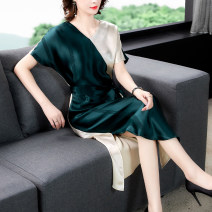 Dress Summer 2021 Green apricot S M L XL 2XL 3XL Mid length dress singleton  Short sleeve Lotus leaf collar other other 35-39 years old Mu Yixin 6592 spot More than 95% other other Other 100% Pure e-commerce (online only)