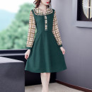 Dress Spring 2021 green S M L XL 2XL 3XL longuette singleton  Nine point sleeve commute Doll Collar middle-waisted lattice Socket A-line skirt routine Others 35-39 years old Type A Mu Yixin Ol style Splicing NEJ9561 More than 95% Chiffon other Other 100%