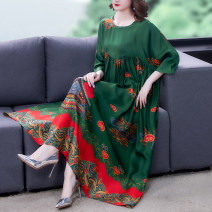 Dress Summer 2021 blackish green M L XL 2XL XXL 3XL 4XL Mid length dress Short sleeve other other 40-49 years old Mu Yixin NEJ1871 More than 95% other Other 100% Pure e-commerce (online only)