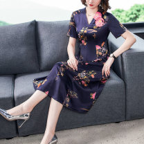 Dress Summer 2021 Picture color M L XL 2XL 3XL 4XL longuette singleton  Short sleeve commute V-neck middle-waisted Decor zipper Big swing routine 35-39 years old Mu Yixin lady zipper More than 95% other other Other 100% Pure e-commerce (online only)