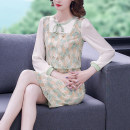 Dress Spring 2021 Decor S M L XL 2XL Middle-skirt Fake two pieces Long sleeves commute Crew neck middle-waisted Solid color zipper A-line skirt routine 35-39 years old Type A Mu Yixin Ol style printing XBH8236 More than 95% other Other 100% Pure e-commerce (online only)