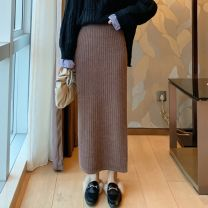 skirt Winter 2020 M [80-100 Jin], l [100-120 Jin], XL [120-160 Jin], 2XL [160-210 Jin] Black, gray, khaki longuette commute High waist skirt Solid color Type H 25-29 years old 90-4052 51% (inclusive) - 70% (inclusive) knitting Lu Qian nylon Thread, splice Simplicity