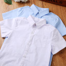 shirt White, blue Other / other male 110cm,120cm,130cm,140cm,150cm,160cm,170cm summer Short sleeve college Solid color cotton Lapel and pointed collar Cotton 95% polyester 5% MT202036