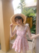 one piece  Other M,L,XL Pink flowers Skirt one piece With chest pad without steel support KB19123 female Sleeveless Casual swimsuit