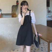 Women's large Summer 2021 black S,M,L. Fake two pieces commute Self cultivation moderate Short sleeve Solid color Retro One word collar other Three dimensional cutting puff sleeve 18-24 years old backless 81% (inclusive) - 90% (inclusive) Short skirt other straps