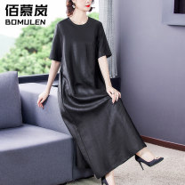 Women's large Summer 2021 black L XL 2XL 3XL 4XL 5XL Dress singleton  commute easy thin Socket Short sleeve Solid color Korean version Crew neck Medium length Three dimensional cutting routine BNRJ8682 Bomulen 35-39 years old pocket longuette Silk 80% others 20% Pure e-commerce (online only) other