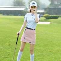 Golf apparel Top + skirt, pink skirt, white top S,M,L,XL female ZG-6 t-shirt
