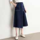 skirt Spring 2021 25 26 27 28 29 30 31 32 33 Blue black Mid length dress commute High waist Denim skirt Solid color Type A 18-24 years old MTJ_ MD2020QJ5003N2 More than 95% Denim Honey season cotton Fringed pleated pocket with asymmetric buttons and decorative stitching Retro