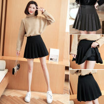 skirt Winter 2020 S,XL,2XL,3XL,4XL,5XL,L,M Black, gray longuette grace High waist Pleated skirt Solid color Type A 25-29 years old More than 95% other other
