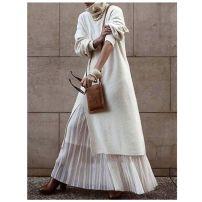 Dress Autumn 2020 white Average size Mid length dress singleton  Loose waist Solid color Socket Big swing