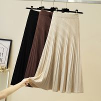 skirt Autumn 2020 Average size [recommended 80-130 kg], average size [collection baby priority delivery] Apricot, black, coffee Mid length dress Versatile High waist Pleated skirt Solid color Type A 31% (inclusive) - 50% (inclusive) knitting Other / other other