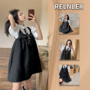 Women's large Summer 2021 Shirt + suspender skirt shirt [single] suspender skirt [single] Dress Two piece set commute easy thin Conjoined Short sleeve Retro Polo collar routine polyester Three dimensional cutting puff sleeve 798hj RELNLEX 18-24 years old chain 31% (inclusive) - 50% (inclusive) zipper