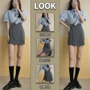Women's large Summer 2021 Shirt + skirt shirt [single] skirt [single] Dress Two piece set Sweet easy thin Socket Short sleeve Solid color Polo collar routine Three dimensional cutting shirt sleeve 234ea RELNLEX 18-24 years old Short skirt Other 100% Pure e-commerce (online only) college