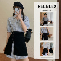 Women's large Summer 2021 Black yellow Dress Two piece set commute Straight cylinder thin Conjoined Short sleeve stripe Korean version Polo collar routine polyester Three dimensional cutting routine 654ww RELNLEX 18-24 years old Button Short skirt Other 100% Pure e-commerce (online only) Pencil skirt