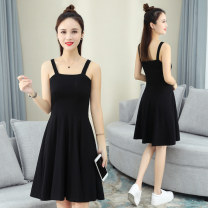Dress Summer 2021 Black red yellow M L XL 2XL Mid length dress singleton  Sleeveless commute One word collar High waist Solid color Socket Big swing routine camisole 25-29 years old Shang Yilian Korean version zipper SSX9820 91% (inclusive) - 95% (inclusive) cotton Pure e-commerce (online only)