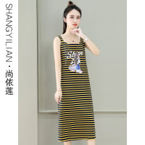 Dress Summer 2021 Black yellow stripe blue green stripe red yellow stripe M L XL 2XL Mid length dress singleton  Sleeveless commute square neck High waist stripe Socket A-line skirt camisole 25-29 years old Type A Shang Yilian Korean version Patchwork printing SSX-2161-XCZ More than 95% cotton