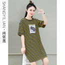T-shirt Red white stripe yellow black stripe red yellow stripe blue green stripe M L XL 2XL Summer 2021 Short sleeve Crew neck easy Medium length routine commute cotton 86% (inclusive) -95% (inclusive) 25-29 years old Korean version youth Letter pinstripes Shang Yilian SSX-2171-XCZ printing