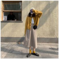 Women's large Autumn 2020 Yellow cardigan + skirt, pink cardigan + skirt S,M,L,XL Other oversize styles Two piece set commute Straight cylinder moderate Cardigan Long sleeves lattice Korean version Crew neck routine other routine Other 18-24 years old Button 96% and above Medium length other
