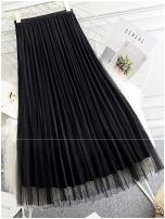 skirt Autumn 2020 One size fits all (elastic waist 85-125kg) Black, blue, green, gray, apricot Mid length dress commute High waist Pleated skirt Solid color Type A SP0861 Other / other Pleat, web Korean version
