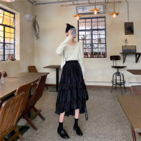 skirt Autumn 2020 Average size Black, Khaki longuette commute High waist Pleated skirt Solid color Type A 18-24 years old i-38 fold Korean version