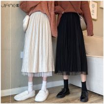 skirt Winter 2020 One size fits 80-130 kg Black, apricot longuette commute High waist A-line skirt Solid color Type A 18-24 years old JMH202001022B3 More than 95% knitting Other / other polyester fiber fold