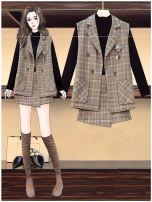 Women's large Autumn 2020 Large L, large XL, 2XL, 3XL, 4XL trousers Three piece set commute easy Cardigan Long sleeves Plaid, solid Korean version Crew neck routine Three dimensional cutting routine Other 25-29 years old Short skirt Irregular skirt shorts